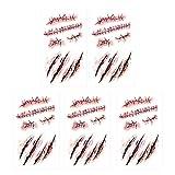 SpringPear® 5X Etiqueta Engomada Temporal del Horror Tatuaje con Rastros Sangre Herida Realista Cicatriz para la Fiesta de Halloween (5 Piezas RC-251)