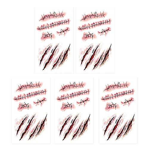SpringPear® 5X Temporär Horror Tattoo Aufkleber für Halloween Party Wasserfeste Tätowierung mit Realistische Wunde Blutspuren Narbe (5 Pcs RC-251)
