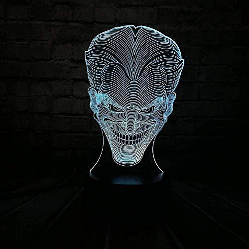 YOUPING Lámpara de ilusión 3D LED noche luz Marvel leyenda suicida escuadrones Batman Joker Kid lámpara de escritorio lámpara de mesa niño regalo visual óptico niño juguete