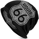 Tracray Gorra Unisex Beanie Route 66 Route Gorra Fina de Calavera Baggy Oversize Knit Hat Black