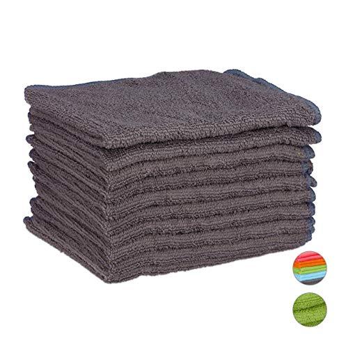 Preisvergleich Produktbild Relaxdays,  grau Mikrofasertücher 10er Set,  40x30 cm,  saugfähiges Microfasertuch,  Allzweckreinigung,  waschbar,  weich
