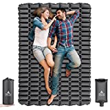 Hikenture Ultralight Double Sleeping Pad,Camping Mattress 2 Person,Backpacking Pad with Pump Sack,Inflatable Air Mat for Tent,Truck,Hammock,Cot (Dark Grey)