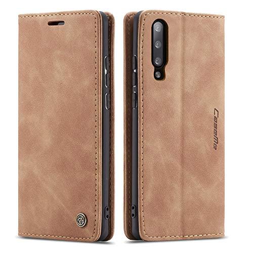 QLTYPRI Hülle für Samsung Galaxy A70, Vintage Dünne Handyhülle mit Kartenfach Geld Slot Ständer PU Ledertasche TPU Bumper Wallet Hülle Flip Schutzhülle für Samsung Galaxy A70 - Braun