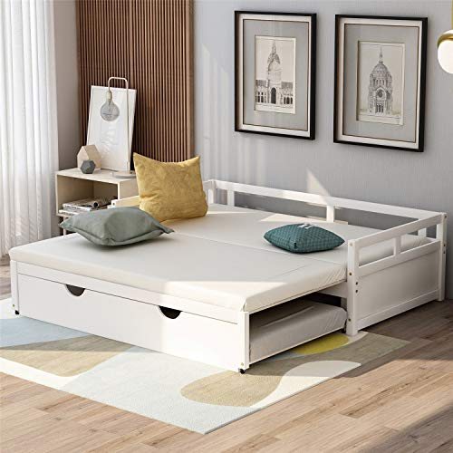 Daybed with Pop up Trundle Beds for Adults and Kids, Wooden Daybed with a Trundle Twin to King Design No Box Spring Required. (White)