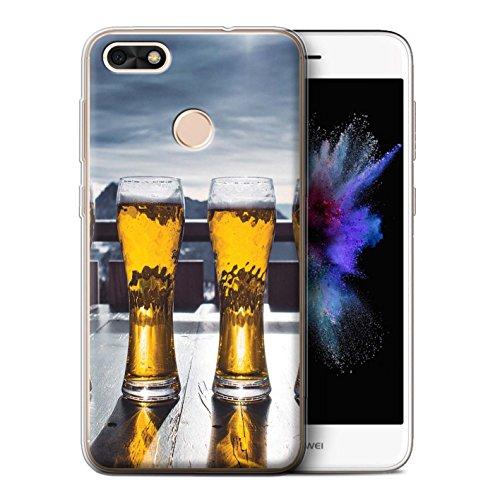 Stuff4 Custodia/Cover/Caso/Cassa Gel/TPU/Prottetiva Stampata con Il Disegno Sciare/Snowboard per Huawei P9 Lite Mini - Apres/Capanna di Sci/Birra