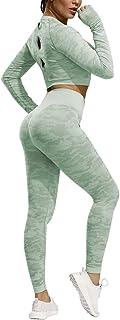 Janjunsi Women Camo Seamless Yoga Tops Compression Workout Activewear Outfits