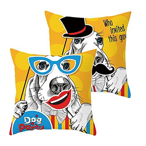 2 Pack Fodere per Cuscini Divano Occhiali per cani Decorativi in Velluto Morbido Fodere per Cuscino Quadrate per Arredamento Casa Camera da Letto Soggiorno Auto Copricuscini G1673 Pillowcase_40x40cm