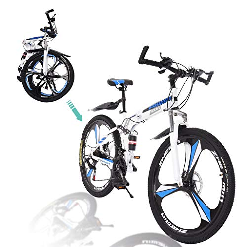 Gywlyxgs Folding Mountain Bike 26in 21 Speed Bicycle Full Suspension MTB Bikes for Adult...