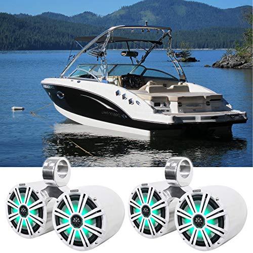 Pair KICKER 45KM84L 8' 600 Watt Marine Boat Waterproof Speakers w/ LED's KM8 Bundle with Rockville...