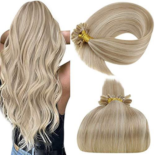 LaaVoo 22 Zoll U Tip Pre Bonded Haarverlangerung Echt Brasilianich Remy Fusion Menschliches Haar #18/613 Aschblond mit Gebleichtes Blond 1g/s 50G
