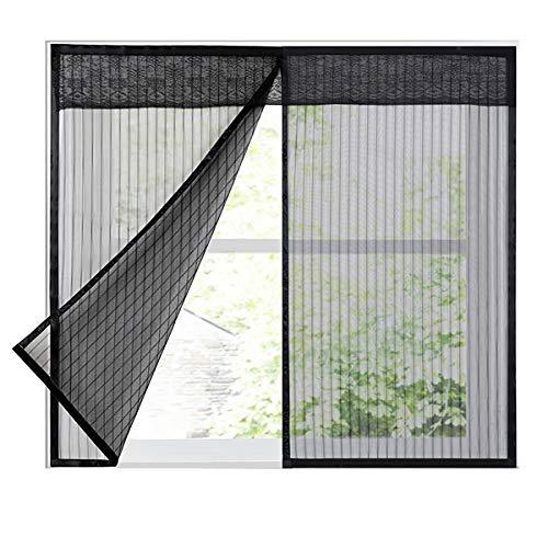 LKXHarleya Moskitonetz FüR Fenster, Magnetisches Fenstermoskitonetz, Fliegengitter Mit Magic Tape Moskitoschutz, Schwarz, 80x150cm