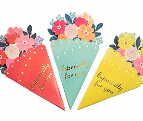 Sasuga かわいい 花束型 お祝い メッセージカード (3色組) 誕生日 birthday 母の日 (3色組(ピンク・ブルー...