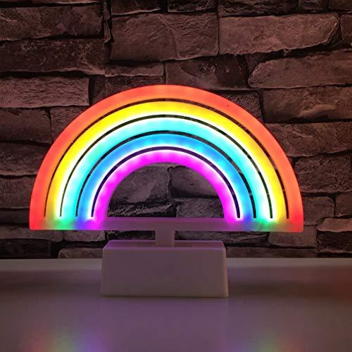 Mobestech Regenboog Neonlichten Batterijgevoede Regenboog Neonreclame Decoratieve Tafellamp Voor Kinderen Kinderen Baby's Slaapkamer Verjaardagscadeautjes