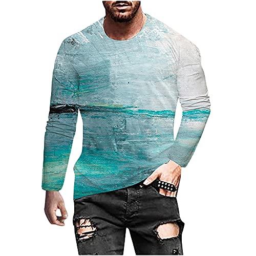 2021 Camiseta Hombre Manga Larga Moda Casual T-shirt Blusas camisas 3D Impresión Camiseta originales Cuello...