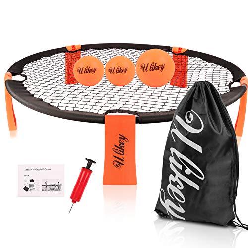 Ulikey Roundnet Set, Spike Strike Ball, Juego de 3 Bolas con Bolsa, Mini Juego de Pelota de Playa para Jugar al Aire Libre o a Cubierto, en el Pista, la Playa, el Parque (Naranja)