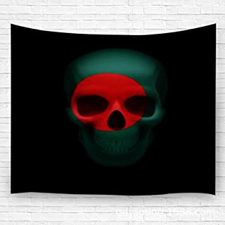 YILINGER Tapestry Human Skull with Flag of Bangladesh Threat to National Security War Or Dying Out Decor Beach Towel Blanket Carpet 39.4