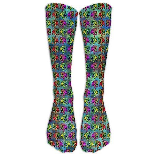 zhulaowufenbaoyouxi Buntes glückliches Fido beiläufige Unisexsocken-Knie-lange hohe Socken-Sport-athletische Mannschafts-Socken eine Größe 50CM Tendenz 777