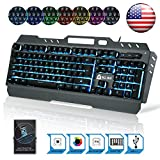 KLIM Lightning Gaming Keyboard + 7 LED Colors + Ergonomic Semi...