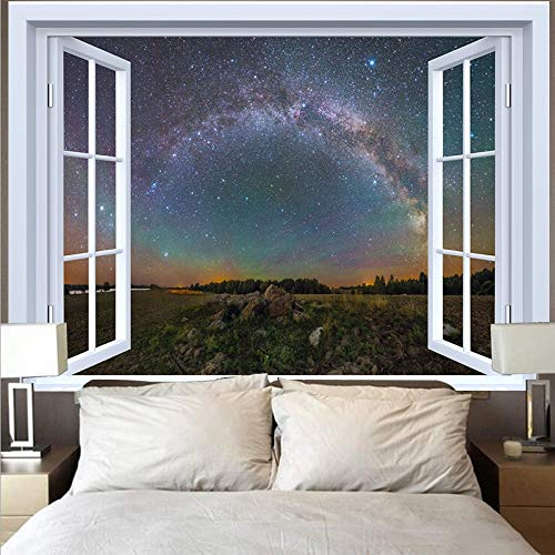 KHKJ Tapiz de Luna Natural Tela de Pared Hippie Tapiz para Colgar en la Pared Playa Bosque Girasol Cielo Estrellado Tapices de Ventana A10 150x130cm