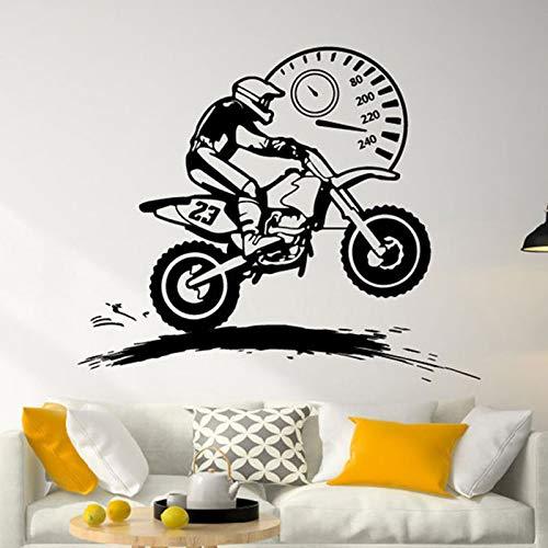 Freestyle Motocross velocímetro pegatina de pared decoración del hogar habitación de niños motociclista Dirt Bike Moto Bike calcomanías de pared Mural A5 68x57cm