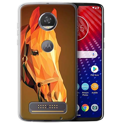 Stuff4 Telefoonhoesje/Cover/Skin/MOTO-GC/Geometrische verzameling dieren in het wild Motorola Moto Z4 Brown Horse