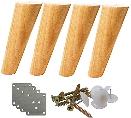 Möbelfüße Beine Tischbeine 4 Stück Massivholz-Möbelfüße, verjüngte Kegeltischbeine, Ersatzstandbeine for Holz-Sofas, belastbar bis 400 kg, Optional 10-70 cm (40 cm / 15,7 Zoll) ( Size : 12cm/4.7in )