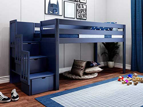 JACKPOT! Contemporary Low Loft Twin Bed with Stairway, Loft Bed, Blue