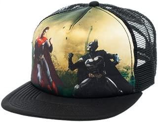 DC New Injustice Superman Vs. Batman Group Black Trucker Snapback Hat Cap Adjustable Flat