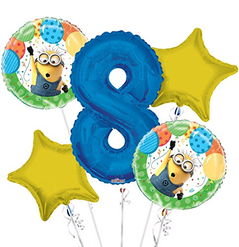 Minions Despicable Me Balloon Bouquet 8th Birthday 5 pcs - Party Supplies