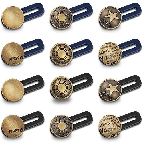 12 Pieces Button Waist Extender Stretch Waistband Extender Elastic Metal Button Extender for Women and Men Jeans Collar Cuffs Pants Supplies