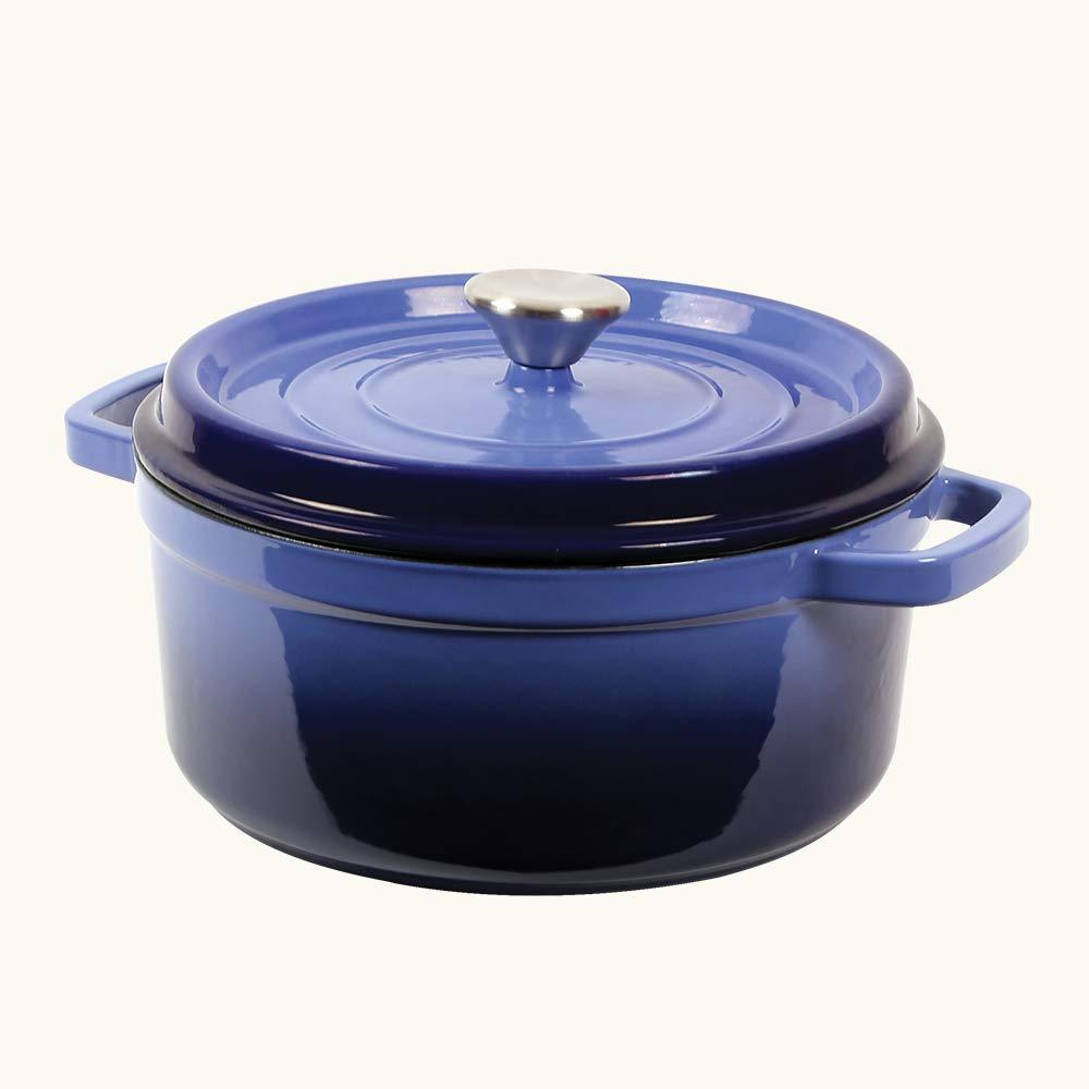 Wonderchef Ferro Cast Iron Casserole with Lid, 3.4 Liters/24 cm, Blue