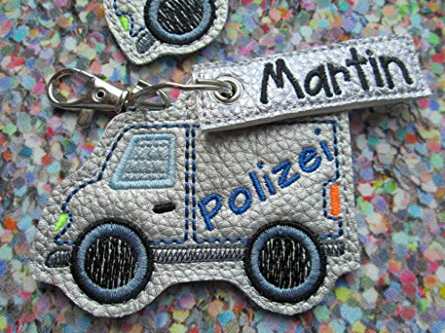 Anhänger personalisierbare Polizei mit Namen Polizeiauto Schlüssel-Anhänger Taschen-Anhänger Geschenk