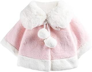 Aivtalk Baby Girls Faux Fur Winter Poncho Cape Pompom Cloak Coat Outwear 6 Months-3 Years
