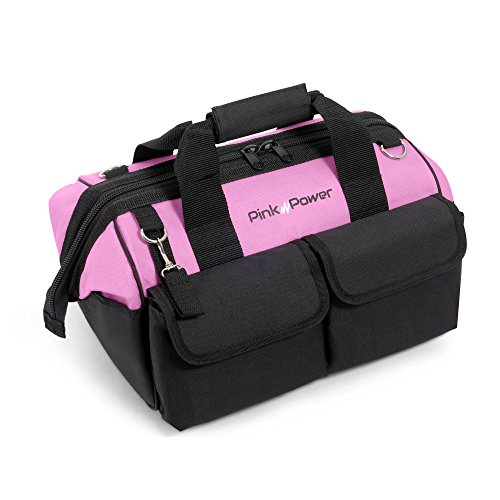"Pink Power 16"" Tool Bag for Women with 22 Storage Pockets and Shoulder Strap"