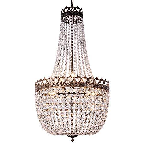 Wellmet Lampadario a sospensione in cristallo, stile vintage, con 9 luci, diametro 50 cm, stile retrò, in vetro, per scale, lampadario a sospensione, in bronzo anticato