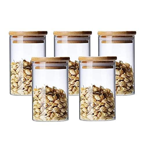300ml Bocaux Conservation Verre, Lot de 5 Pot de Bocal en Verre avec Couvercle en Bambou et Rondelle en Silicone pour Épices, Haricots, Bonbons