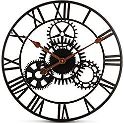 Bernhard Products Extra Large Wall Clock 20 Inch Decorative Wrought Iron, Silent Quartz Industrial Gears Black Rustic Metal Roman Numeral European Steampunk Cog Vintage Distressed Details, Battery