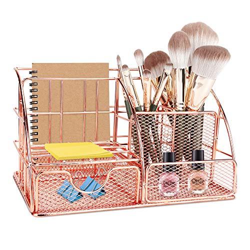 Maxjaa organizador de escritorio, mesa de malla material organizador, de oro rosa multifuncional organizador de escritorio con portalápices, correderas de cajón y 6 compartimiento