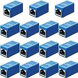 Acoplador RJ45, Adaptador de Extensión Ethernet Conector de Red para Cat7/ Cat6/ Cat5e/ Cat5 Acoplador de Cable de Red de Ethernet Hembra a Hembra (Azul, 15 Piezas)