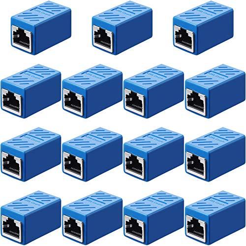 Accoppiatore RJ45, Connettore di Rete dell'Adattatore di Estensione Ethernet per Cat7/ Cat6/ Cat5e/ Cat5, Accoppiatore Cavo di Rete Ethernet Femmina a Femmina (Blu, 15 Pezzi)