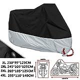ANFTOP Funda para Moto 190T Cubierta 4XL Impermeable Agujeros de la Cerradura de Motocicleta Plateado y Negro Motorcycle Cover Talla XXXXL