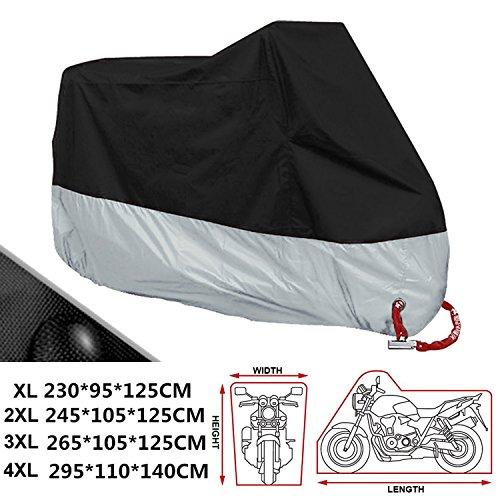 ANFTOP XXXXL Coprimoto Telo Motociclo teli Copri moto Scooter impermeabile, antipolvere, anti UV, traspirante, per esterni, con sacca per il trasporto 4XL, colore: Nero e Argento