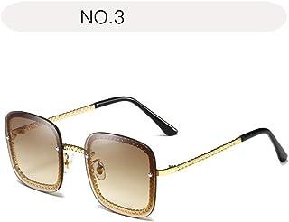 サングラス ファッション 女性の特大サングラスUV400保護フレームファッションレディトーンサングラス (色 : NO.3, サイズ : Free size)