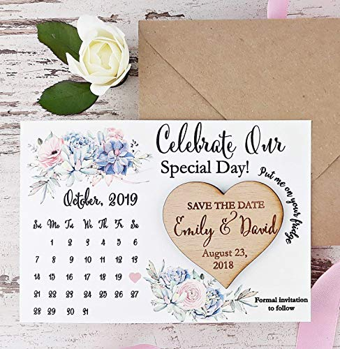 Calendar Save The Date Card, Calendar Wedding Save The Date Magnet, Rustic Save The Date, Wooden Heart Magnet Set of 20