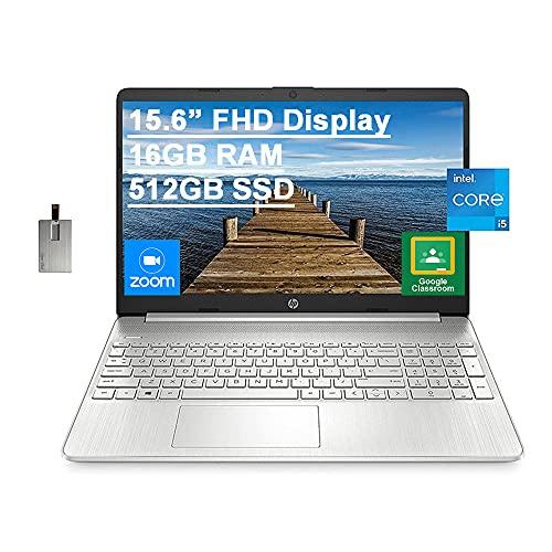 2021 HP 15.6' FHD Laptop Computer, 11th Gen Intel Core i5-1135G7(Beats Intel i7-1065G7), 16GB RAM, 512GB PCIe SSD, Intel Iris X Graphics, HD Webcam, HDMI, Bluetooth, Win 10, Silver, 32GB USB Card