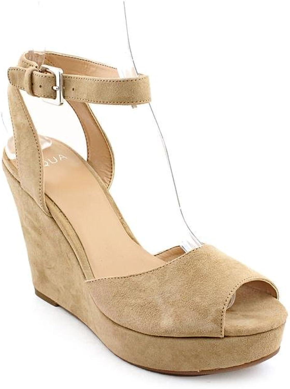 Aqua Ava Womens Size 10 Beige Peep Toe Suede Wedge Sandals shoes