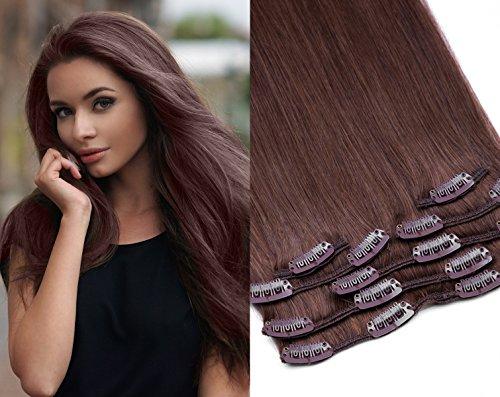 Echthaar Clip In Extensions Set 100% indisches Remy Echthaar 7 teilig / 7 Tressen hochwertige Haarverlängerung 45cm Clip-In Hair Extension Farbe (Nr. 6 Mittelbraun)