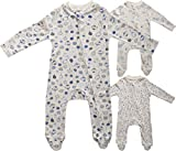 Just Juniors Baby Boys & Girls Unisex 100% Cotton Sleepsuit Babygrow with Integrated Mitts, Front Zip & Covered Feet Pack of 3 (Blue Teddy, Balloons, Dinosaur, 0-3 Months)