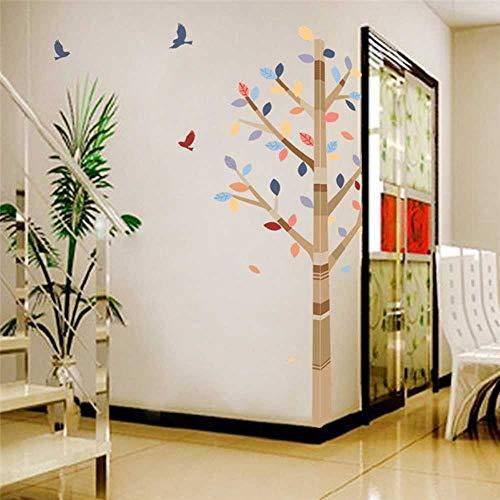 DINGDONG ART Pegatinas De Pared Bosque Colorido Árbol Pájaros PVC Hogar Sala De Estar Dormitorio Decoración TV Fondo Sofá Pared Calcomanías Niños Calcomanías