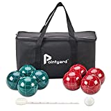 Pointyard Bocce Ball Set, 90mm Classic Bocci Ball Set with 8 Resin Bocce Balls/1 Pallino/NylonZippered Bag/Measuring Tape - Outdoor Family Games for Backyard/Lawn/Beach (Red & Green)